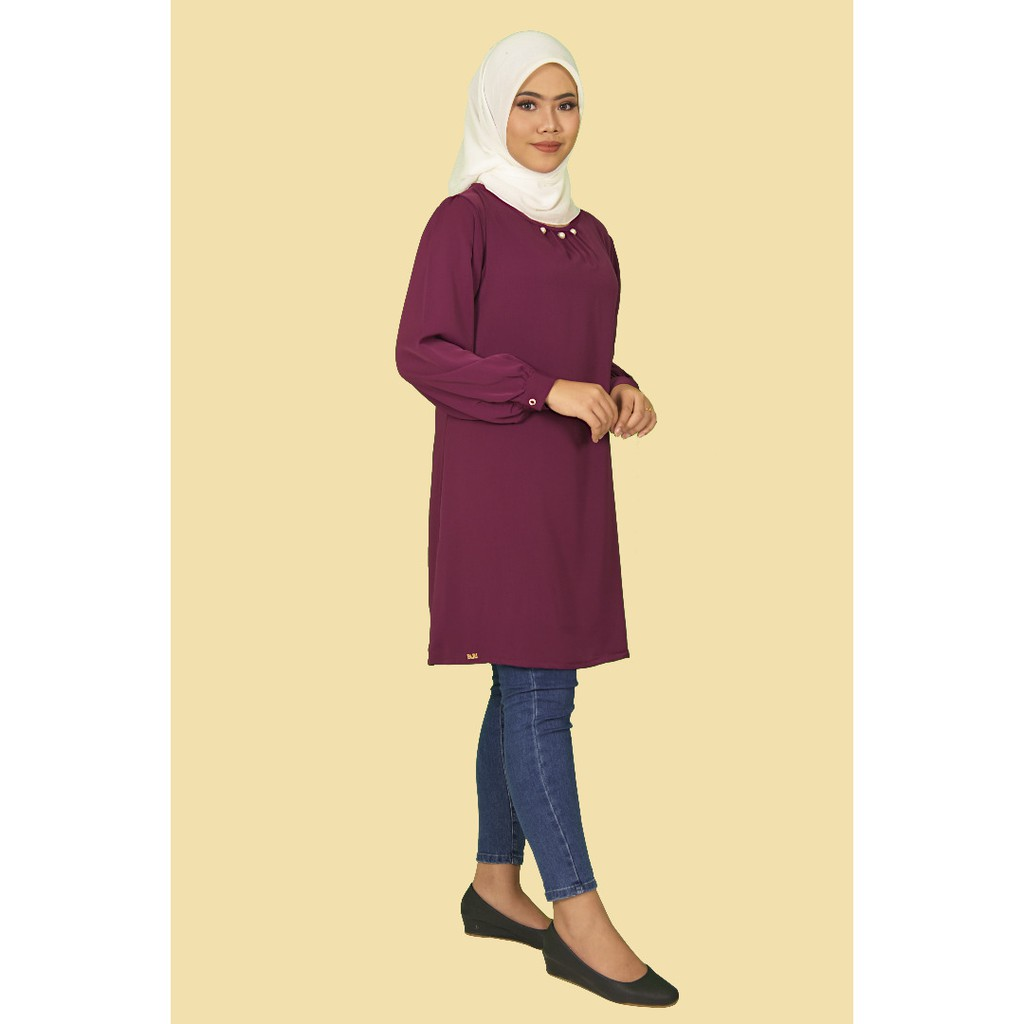 KAYLA BLOUSE Fashion Design Muslimah Labuh Premium Swiss Silk Lengan Panjang Plain .  S - XXL