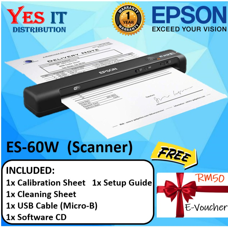 Epson WorkForce ES-60W Wireless Portable Sheetfed Document Scanner (FREE  E-VOUCHER RM50)