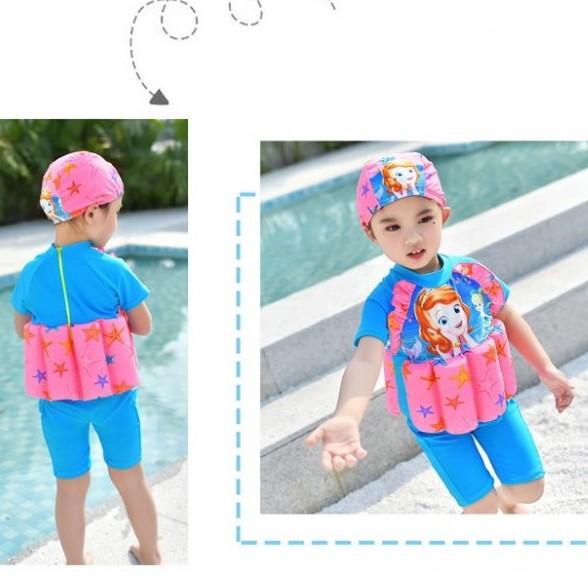 Baju Renang Kanak-kanak Perempuan dengan pelampung l Girl Short Sleeves Sofia the First with Hat and Removable Float