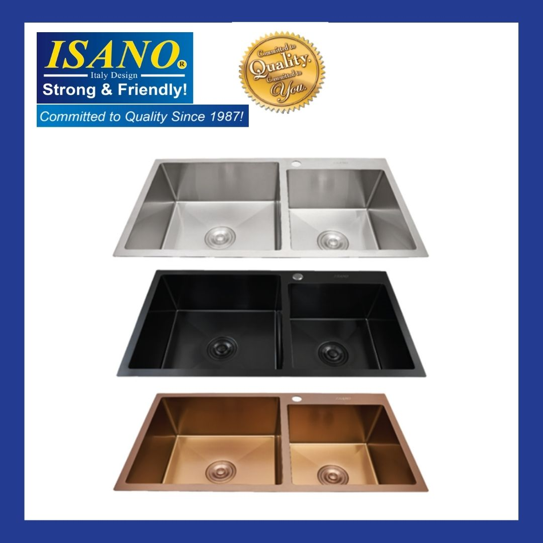 ISANO B8646NA / B8646BL / B8646RG Premium Nano Kitchen Sink Stainless Steel Under Mounted Double Bowl