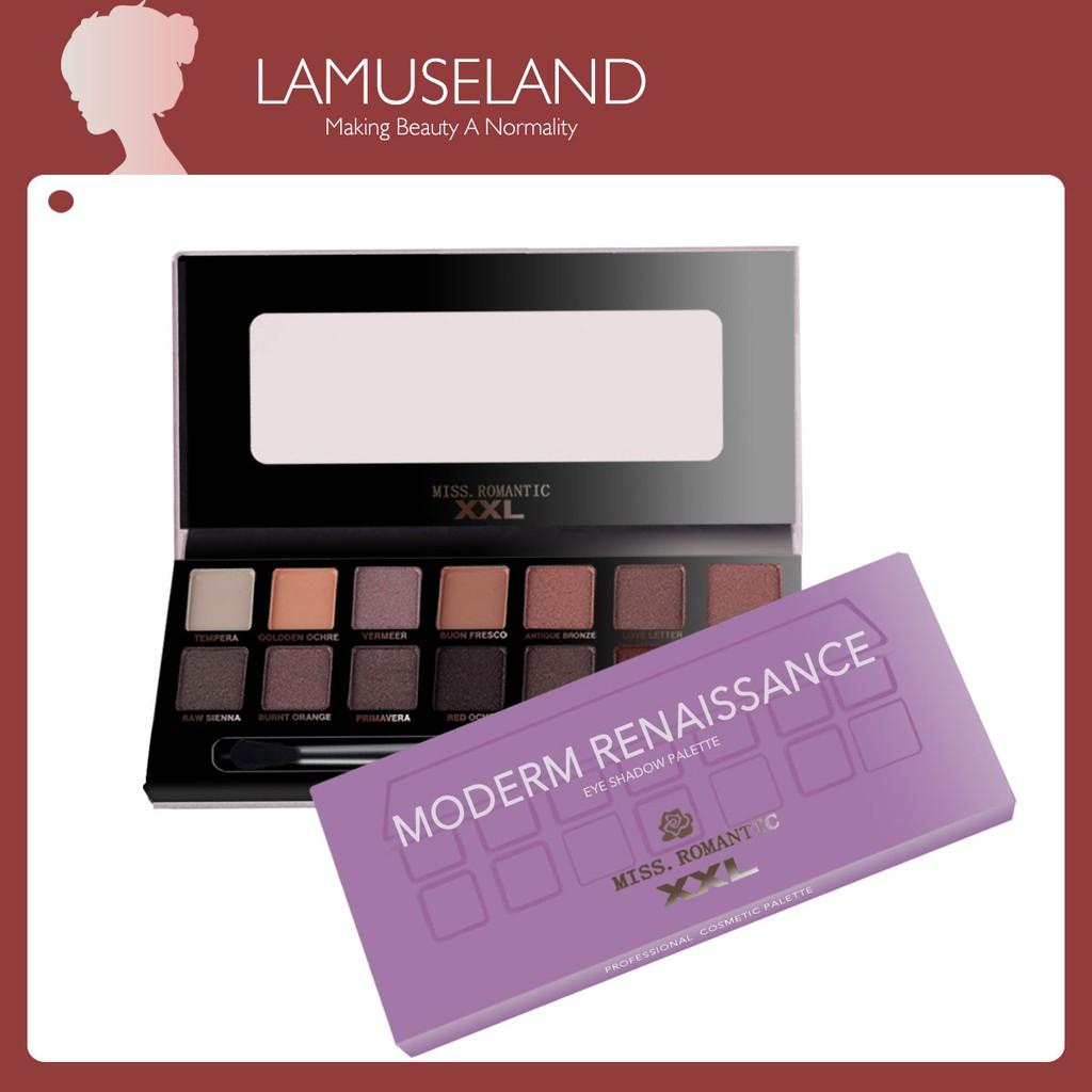 LAMUSELAND 14 color Long-lasting non-flying powder Eye shadows palette+brush+mirror 15g #J0002
