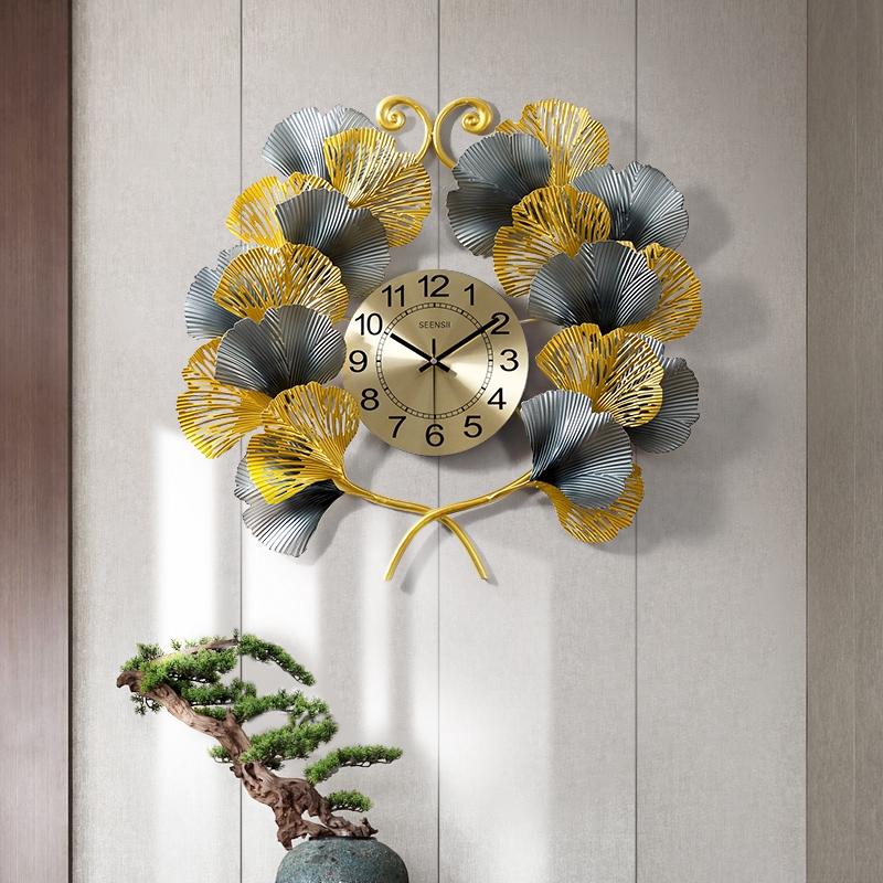 Leaf Wall Clock Modern Simple Luxury Clock Living Room Wall Watch Creativity Shopee Malaysia