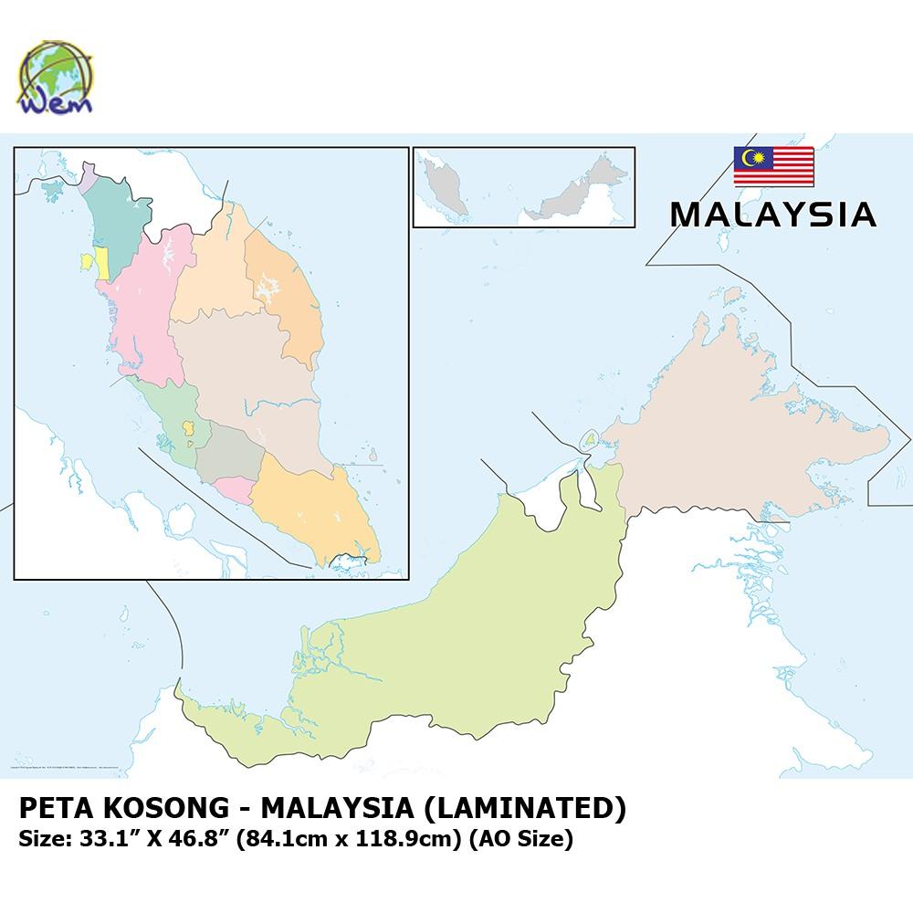 Peta Kosong Malaysia Laminated Malaysia Outline Map Shopee Malaysia