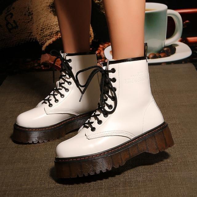 Women Creeper Platform Shoes Lace Up Ankle Combat Riding Creep Punk Boots