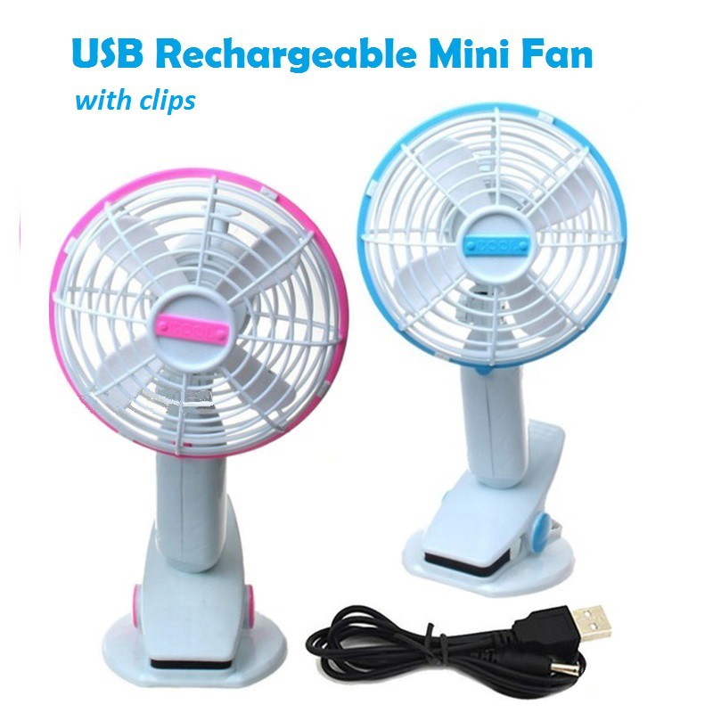 Cool Usb Fan With Clip Rechargeable Fan Shopee Malaysia