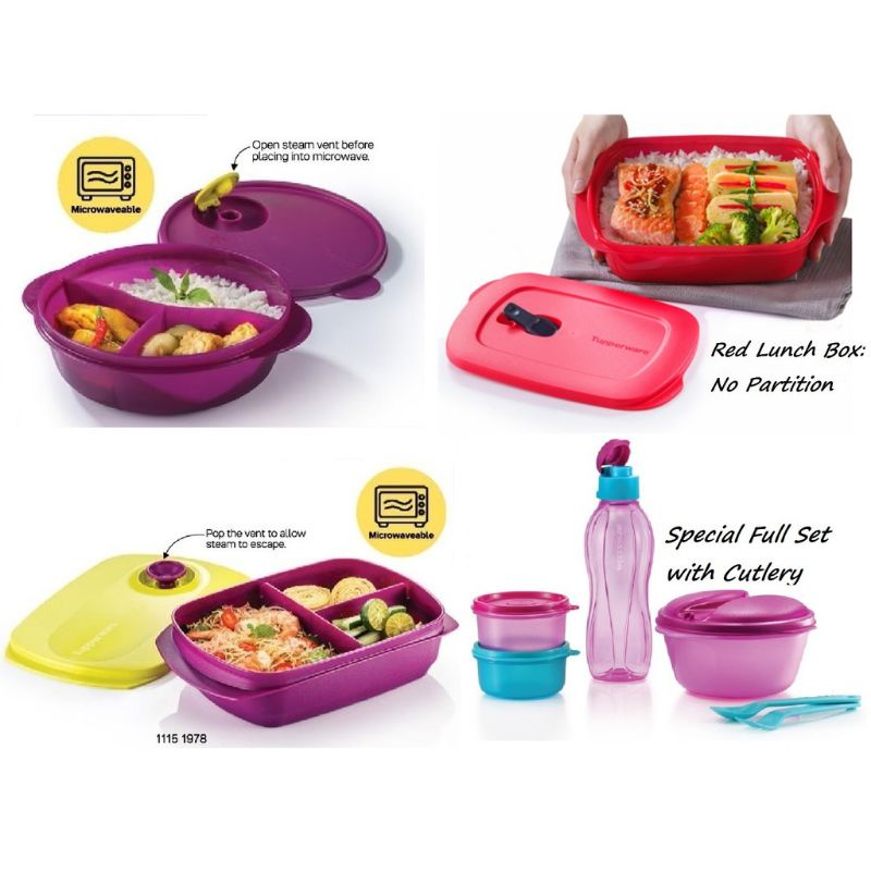 🔥READY STOCK🔥TUPPERWARE Reheatable Divided Lunch Box (1) 1L / Crystalwave Divided Dish (1) 900ml