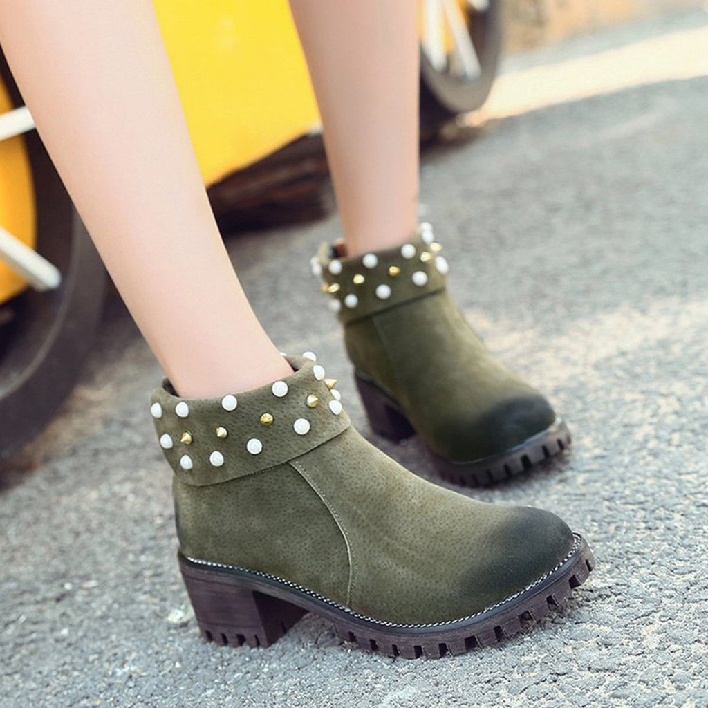 8b86721a8d43d Sold Out. Womens Rivets Shoes Block Chunky Zip Martin Ankle Boots ready ...