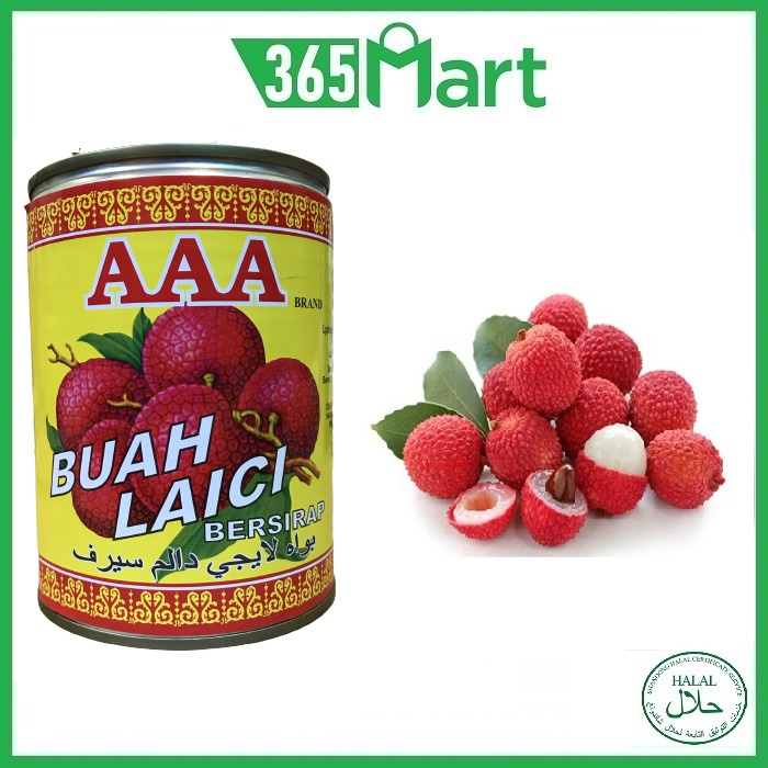 AAA BRAND Lychee in Syrup 565g HALAL AAA牌黑葉荔枝 by 365mart 365 Mart