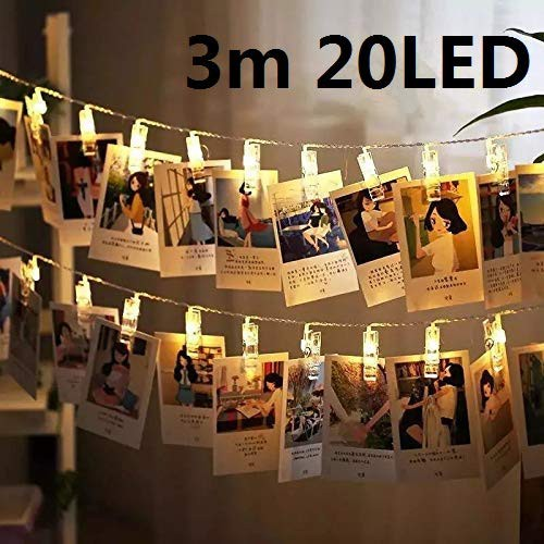 sports shoes cd8be a6a9f Photo Clips String Lights, 3m Battery Powered Fairy Twinkle String Lights  Include 20 LED Clips for Hanging Pictures