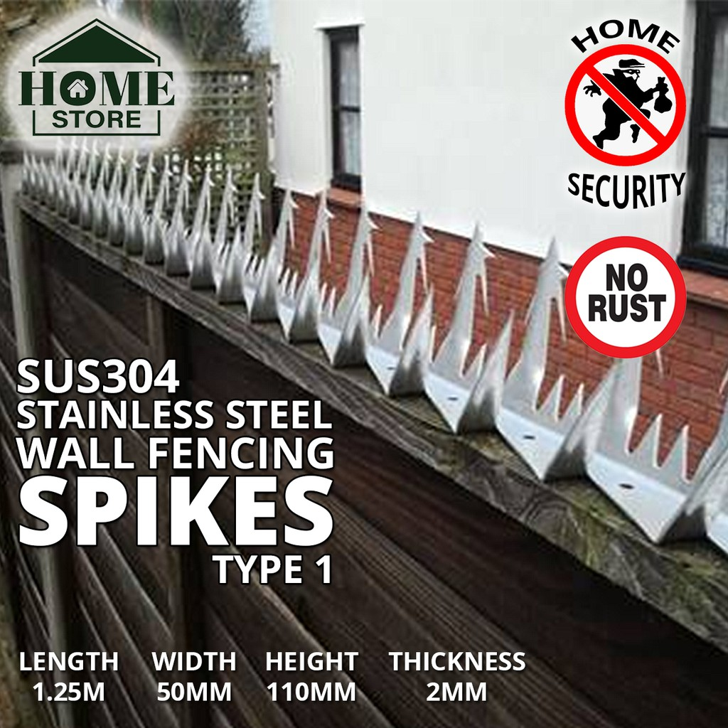 Home Store SUS304 Stainless Steel Security Wall Fencing Spikes Type 1 1.25M (L) x 50MM (W) x 110MM (H) x 2MM (T)
