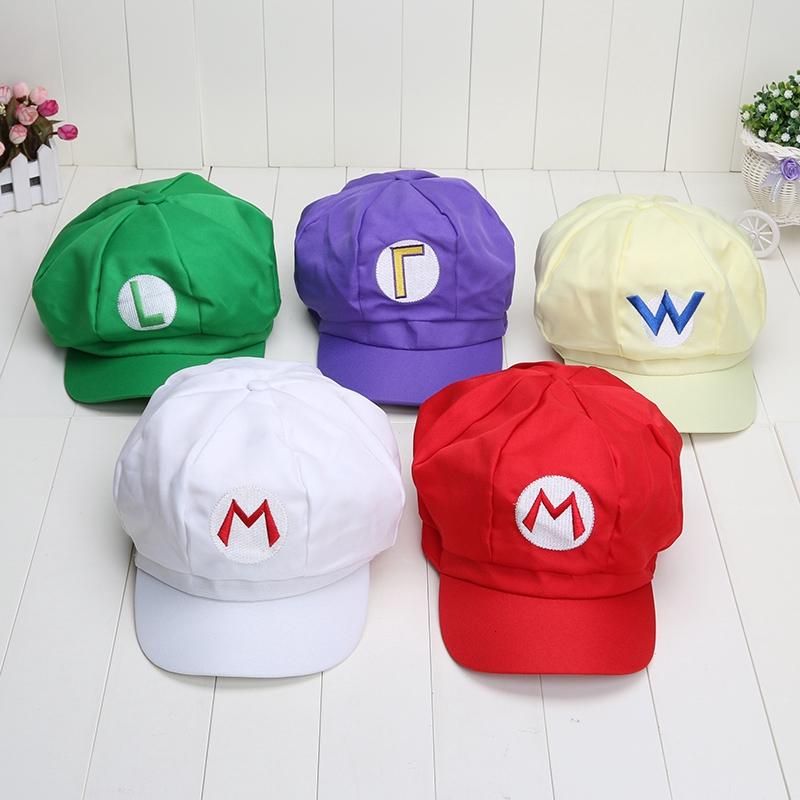 07de4d09a Super Mario Bros Anime Cosplay Mario Red Cap Tag Super mario cotton Hats