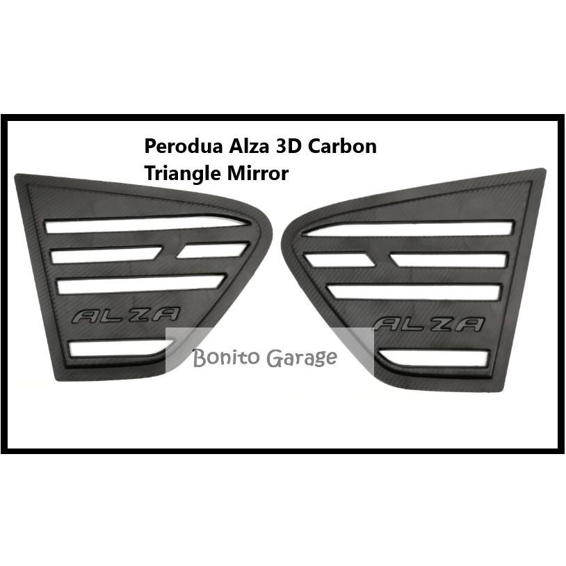 Car Perodua Alza 3D Carbon Triangle Mirror Rear Side Car Window Cover 2 pieces