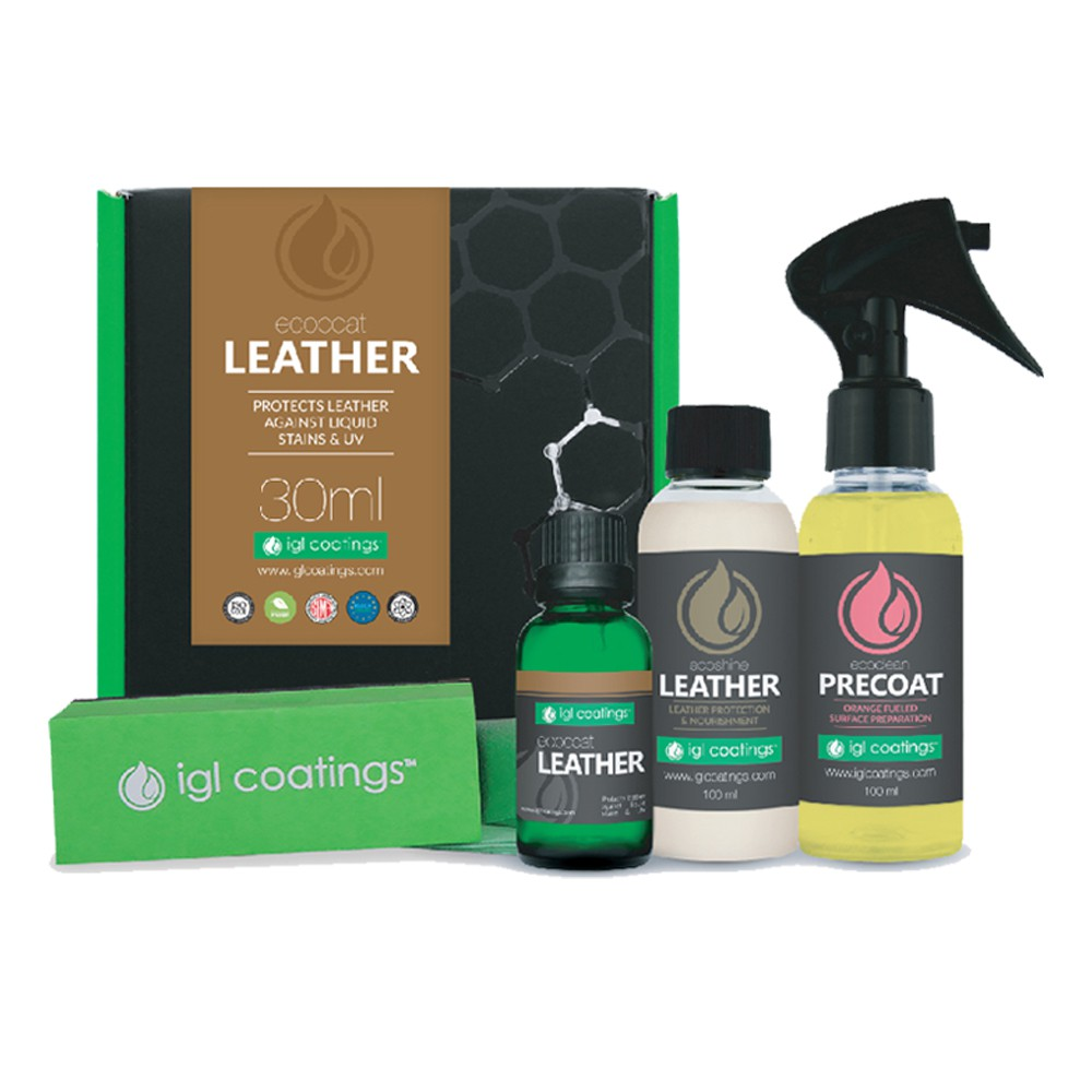 IGL Coatings Ecocoat Leather - Full Set Leather Protection Coating Agent Water Repellent for Bags/Shoes/Leather Seats