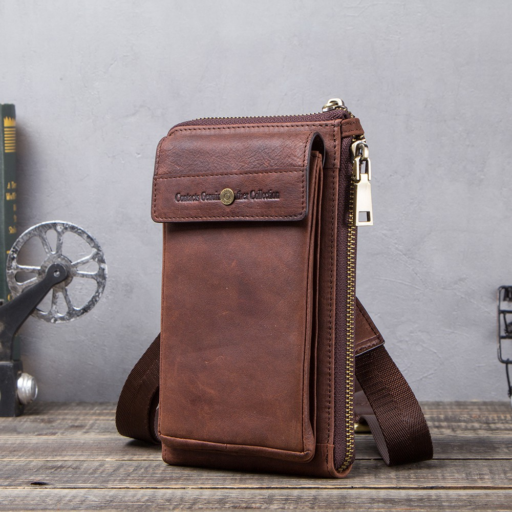 Men/'s Cellphone Card Holders Bag Genuine Leather Small Waist Packs Male Handbags