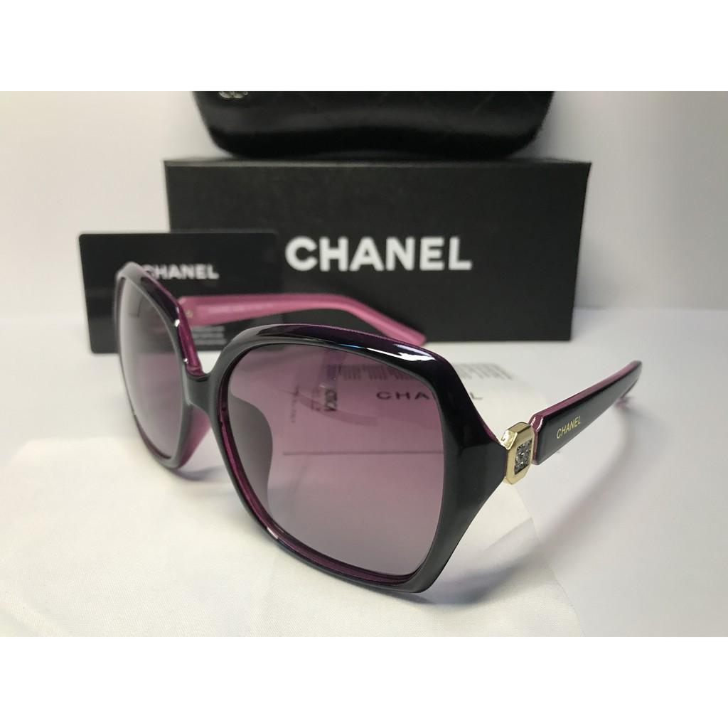 ffb06e0a19 Chanel Polarized Black Gold Embellished Oversized Round Sunglasses ...