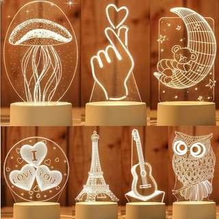 3D Acrylic Night Light LED Table Desk lamp Gift home decoration meja lampu