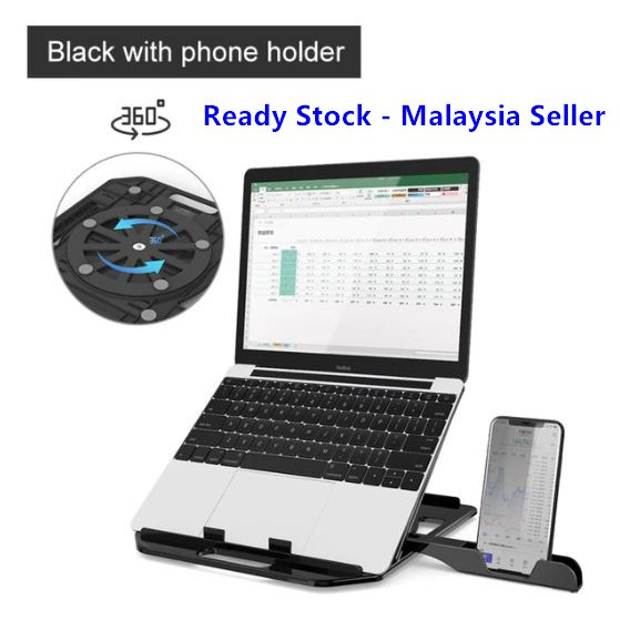 Laptop Stand For Macbook Pro Notebook Support 360 Degree Rotating Bottom Computer Stand Riser - Ready Stock