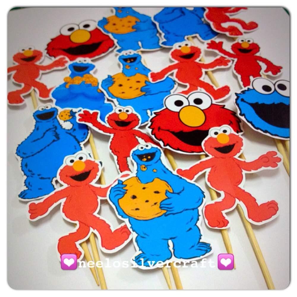 Seseme Street Elmo Cookie Monster Cup Cake Topper X 25 Pcs