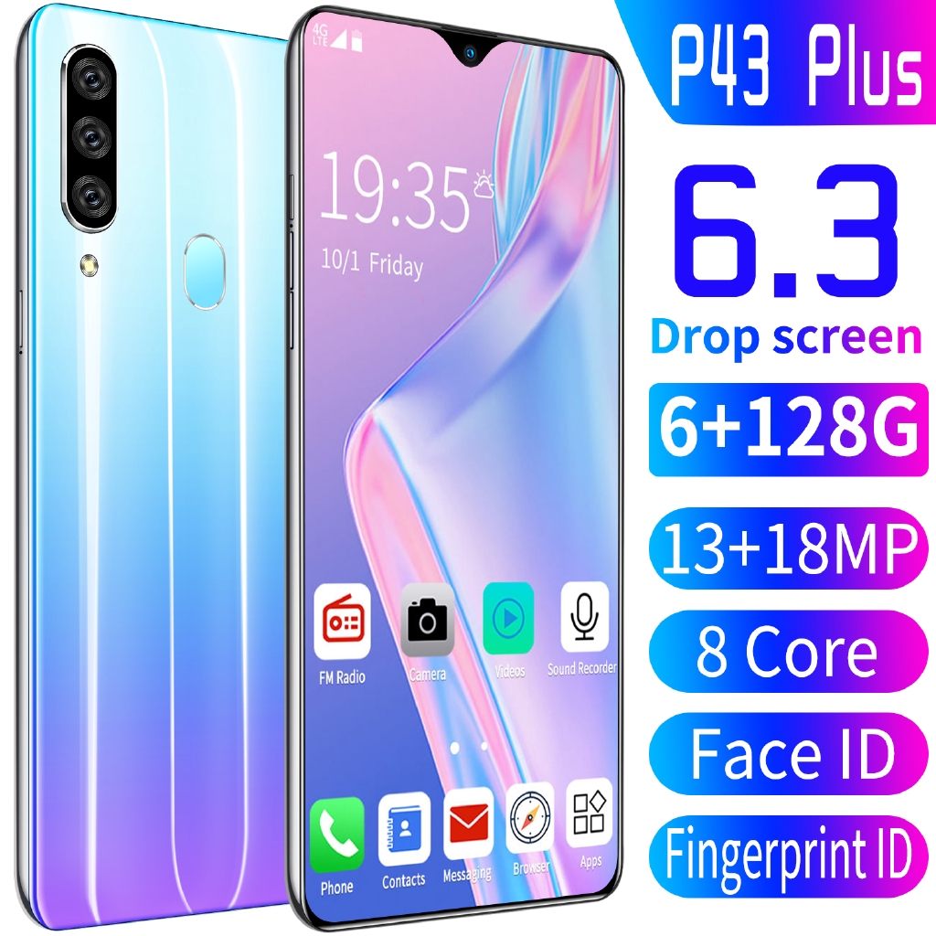 [Original Samsung Screen]P43 Pro 6.3 Inch Drop Screen Android 9.0 6GB RAM 128GB ROM Smartphone 10 Core Handphone