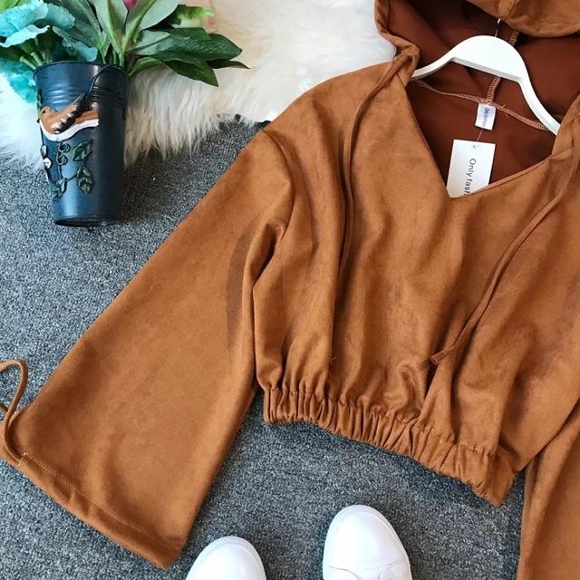 [Free Size]Korean v-neck bat sleeve sweater 卫衣女新款 宽松套头短款V领蝙蝠袖松紧腰慵懒学生带帽卫衣女