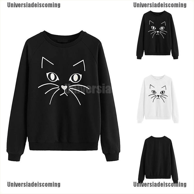 Photno Womens Cute Print Long Sleeve Hooded Blouse Sweater Casual Loose Plus Size Irregular Pullover Tops