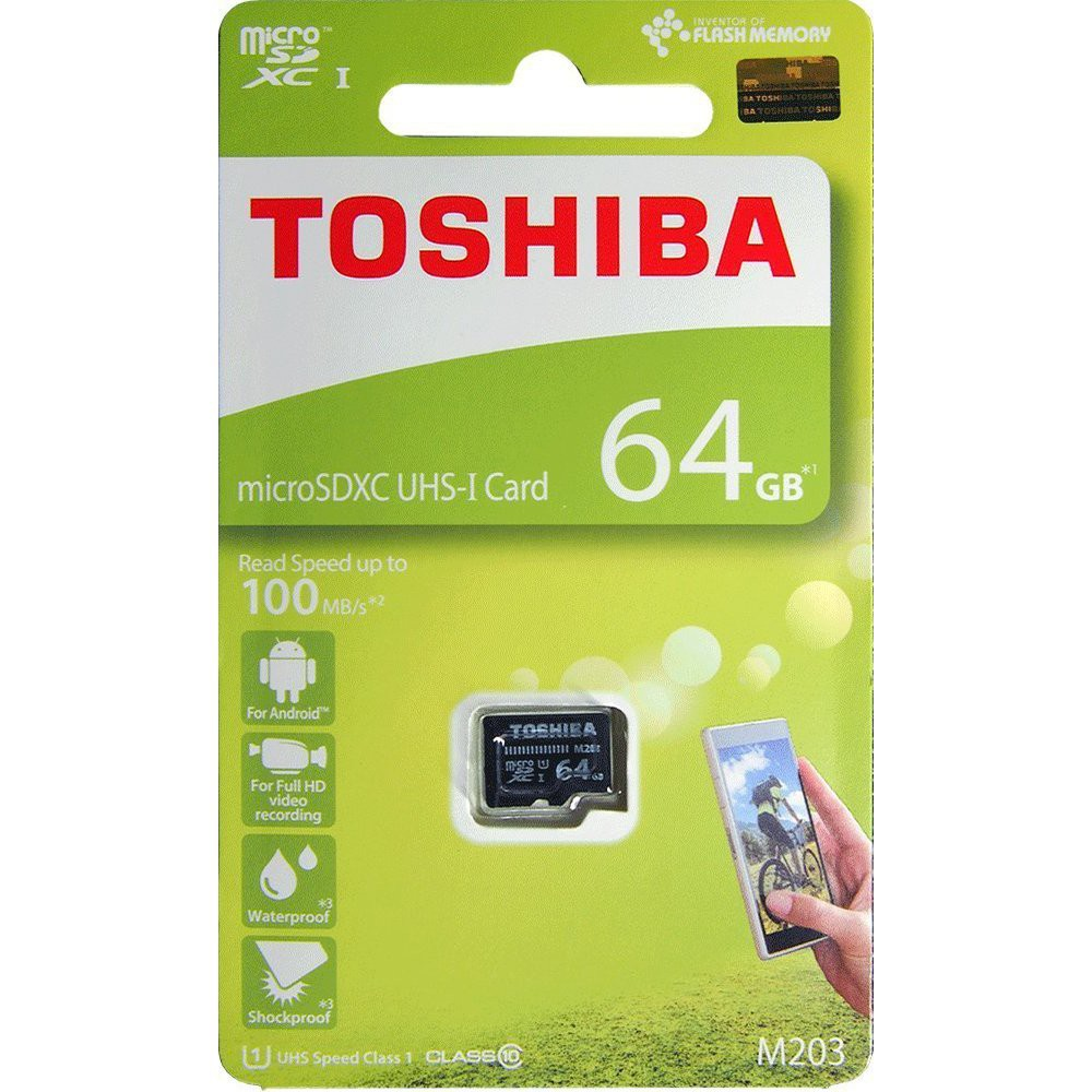 Toshiba M203K 64GB MicroSDXC U1 Class 10 Memory Card 100MB/s THN M203K0640