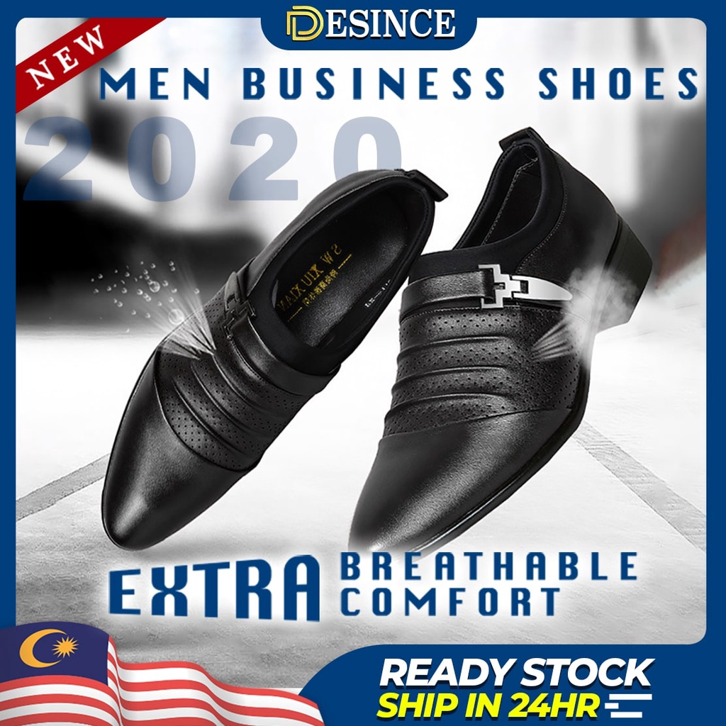 🇲🇾READY STOCK👞 Men Business Leather Shoes Formal Shoe PU Office Covered Kasut Hitam Boots Black Brown Slip-Ons MS 080
