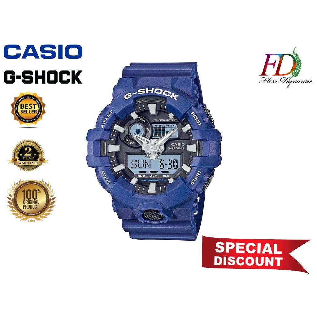 Original GA-700-2A Blue Resin Strap Digital Watch/Blue Resin Band Men Sports Watch Casio G-Shock