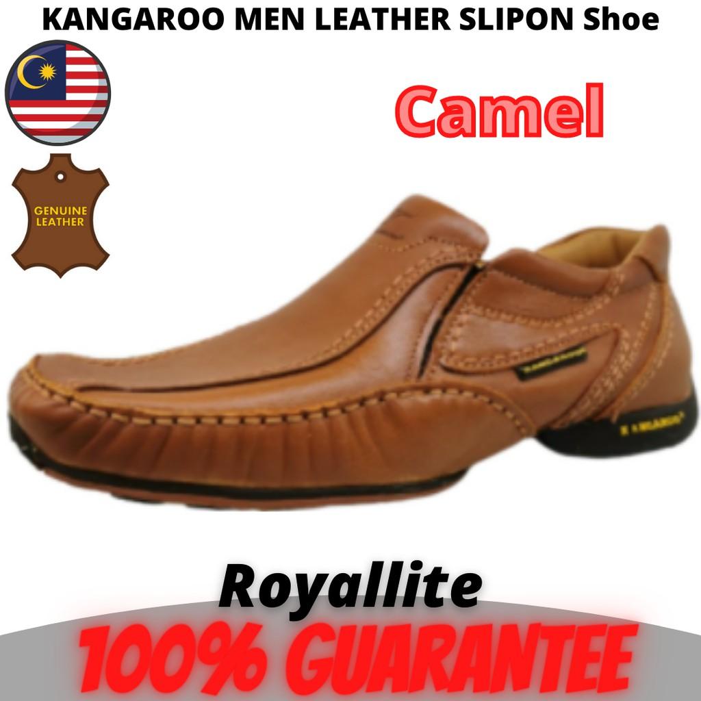 KANGAROO MEN LEATHER SHOE SLIPON Casual (8830) A42Camel & A44Brown