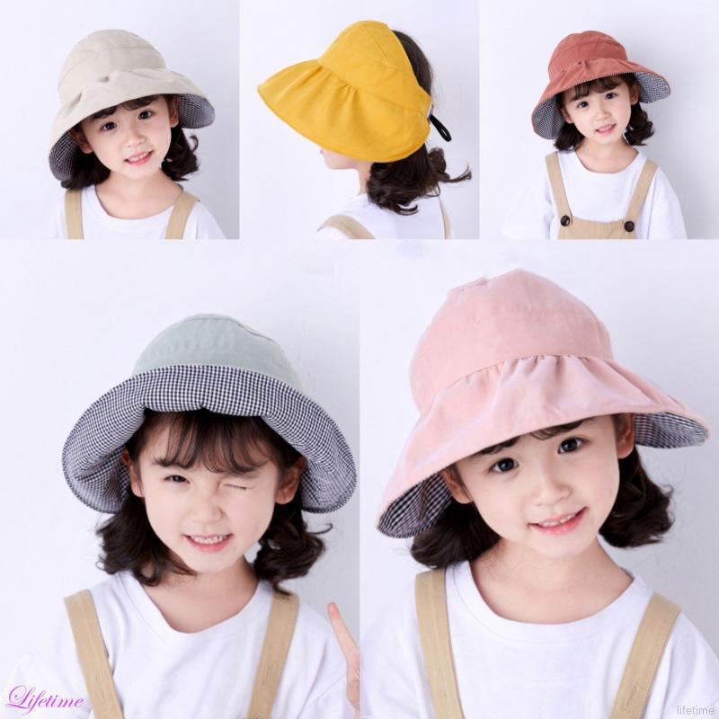 d8ca01a1e Double Sided Summer Kids Sun Hat Cotton Lightweight Wide Brim Beach Cap New