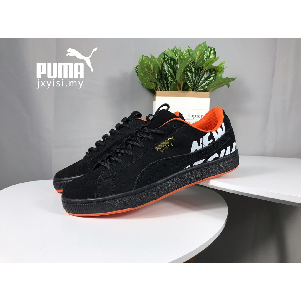 PUMA Kasut ATELIER NEW REGIME Women Men Suede black orange casual fashion  shoes  8b2ba1fb0