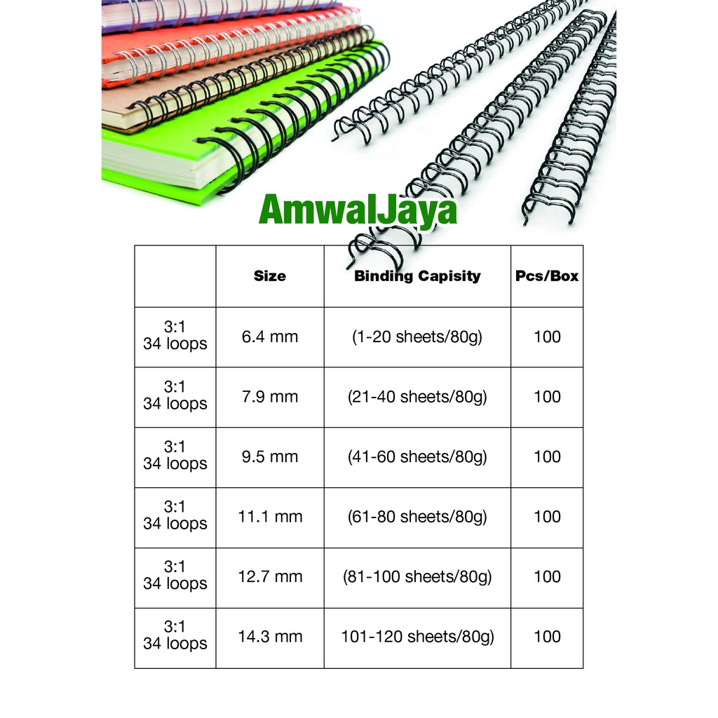 Pack 100 7.9mm 60 Sheet A4 3:1 34 Loop Binding Wires All Colours