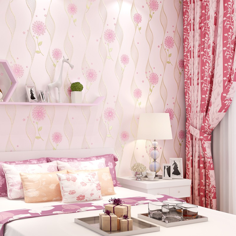 3 D Modern Coining Adhesive Stickers Sweet Pink Bedroom Non Woven Wallpaper Rural Background Wall Shopee Malaysia