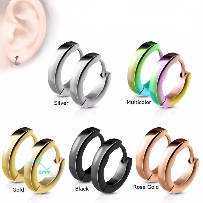 02f7650acb192 1pairs Punk Style Stainless Steel Hoop Piercing Round Earrings for Unisex