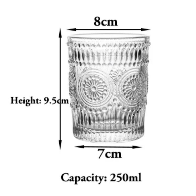 [ READY STOCK ]  Creative Nordic Glass Flower Tea Water Juice Cup Mug Coffee Cawan Kitchen Jualan Murah Simpanan Storage
