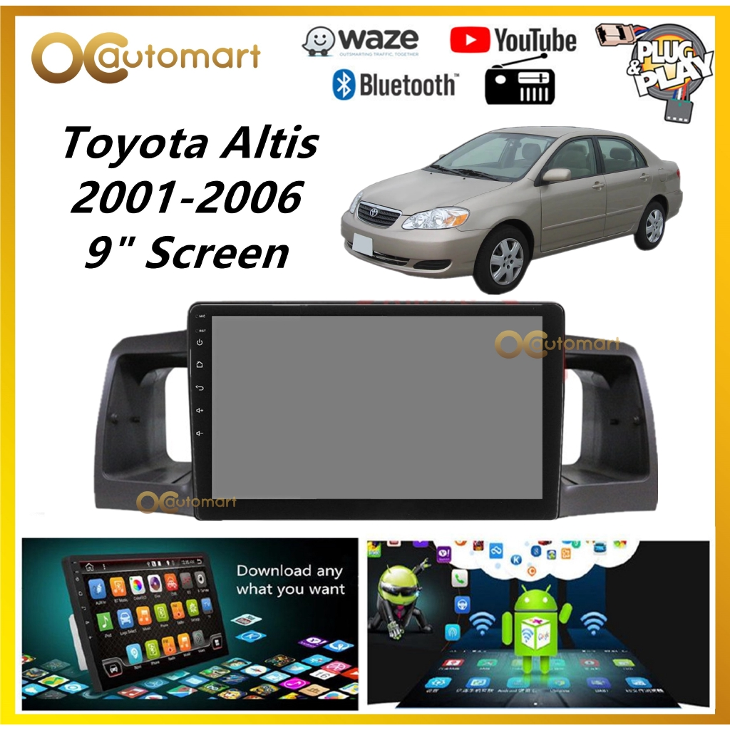 """Toyota Altis 2001-2006 Big Screen 9"""" Plug and Play OEM Android Player Car Stereo With WIFI Video Player/TouchScreen"""