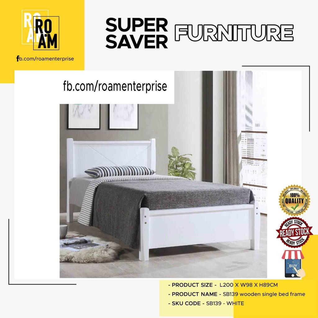ALEXANDER SB139 WOODEN SINGLE BED FRAME 2 color  white and brown color katil single