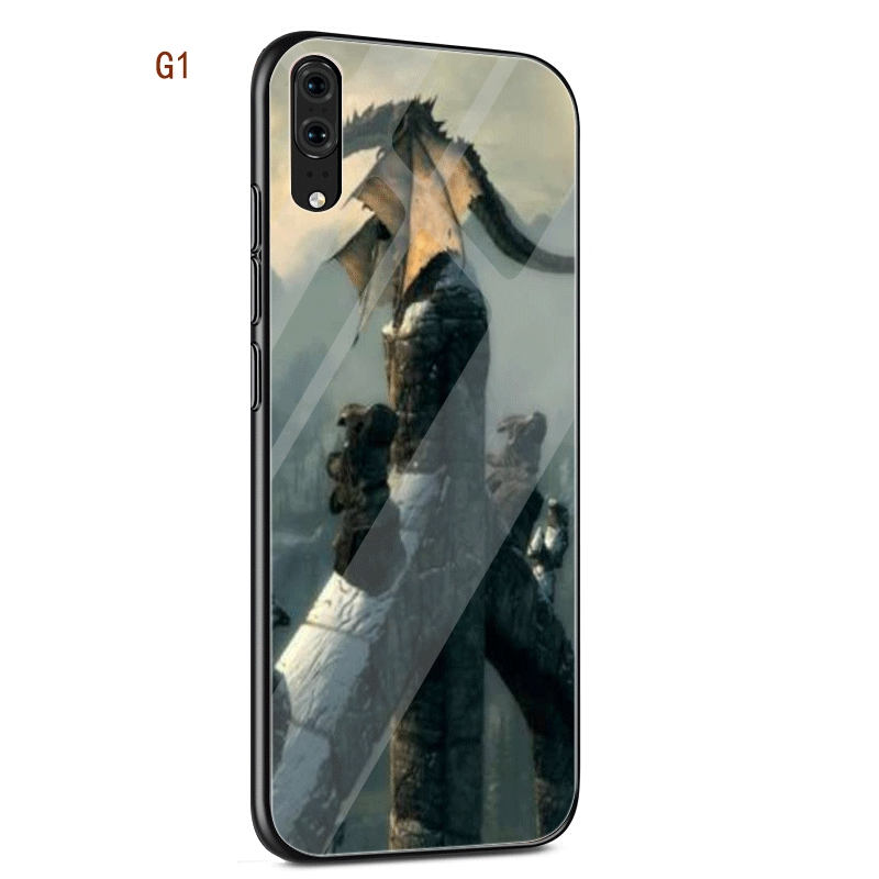 rivenditore all'ingrosso fa42a 566da Elder Scrolls Skyrim Glass Case For Huawei P20 Pro P Smart 2018 Mate 20  Lite Cover