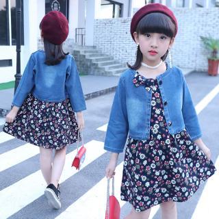 Sleeveless Princess Dress+Denim Jacket Set wear Kids fashion Girls Clothing