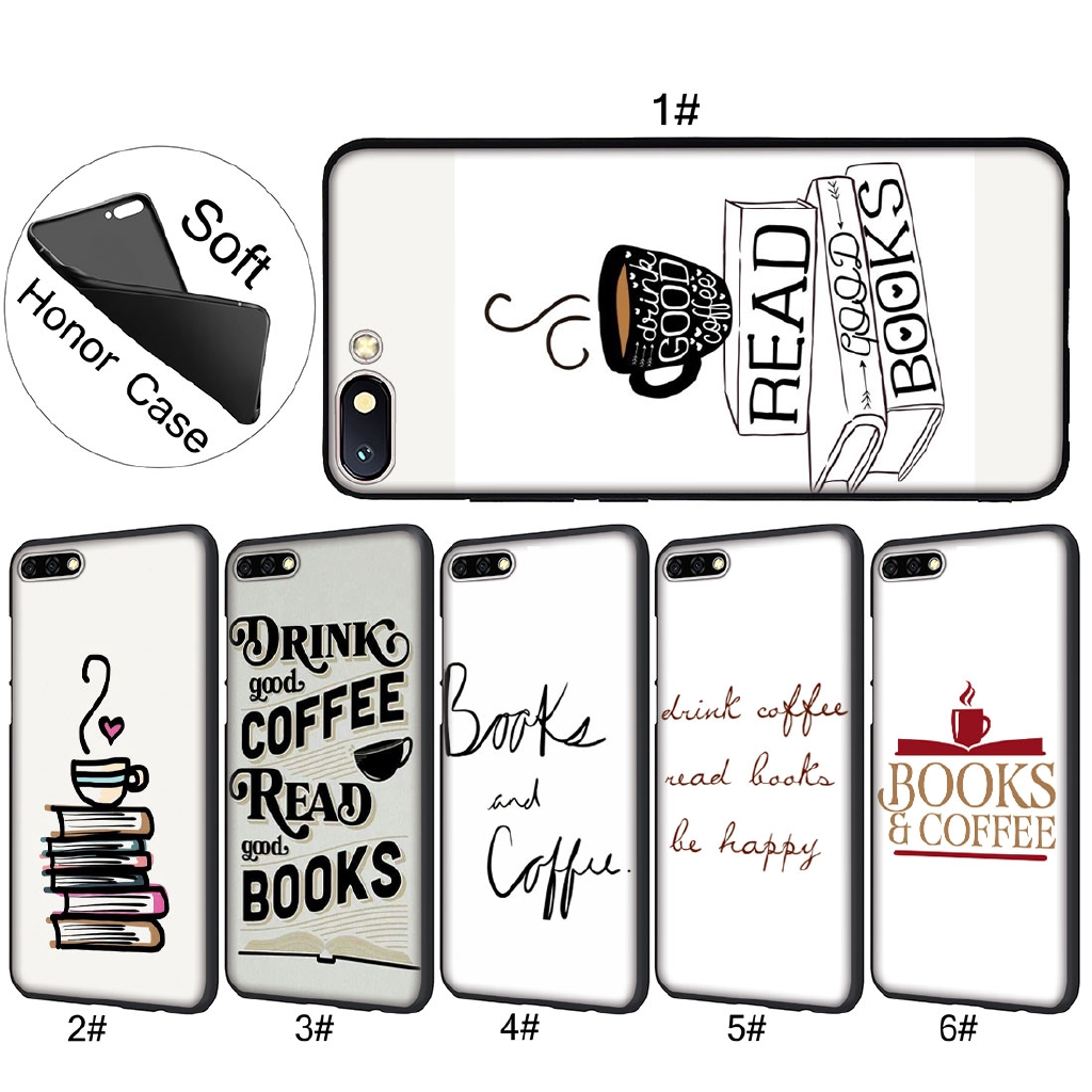 Huawei Honor 10 8X 6A 8 9 Lite Books And Coffee Inverted Mck Print Soft Case