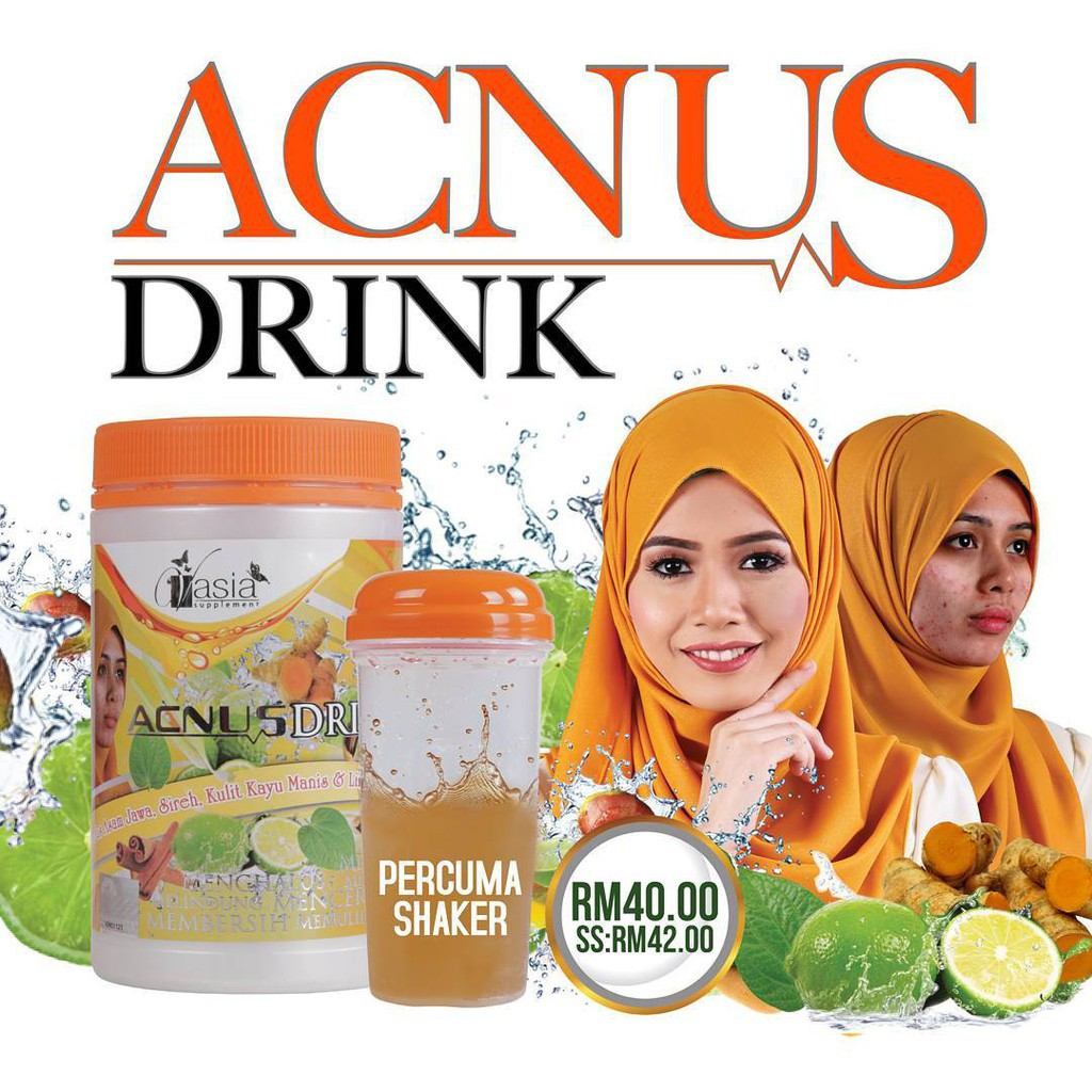 VASIA ACNUS DRINK 400GM 100% ORIGINAL HQ+FREE SHAKER+FREEGIFT