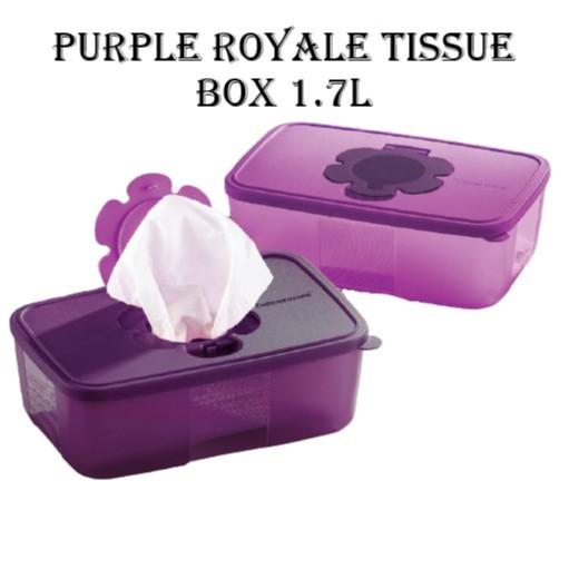 READY STOCK   Tupperware Purple Royale Tissue Box 1.7L   Kotak Tisu   Face Mask Box