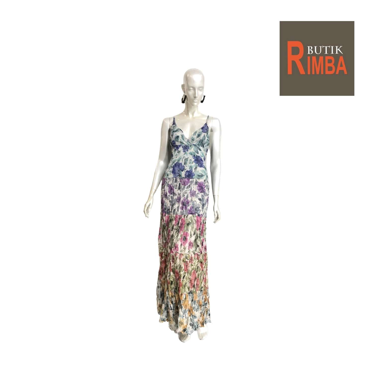 WOMEN FLORAL PRINTED MAXI SLEEVELESS DRESS COTTON FABRIC AND BEACH DRESS 04