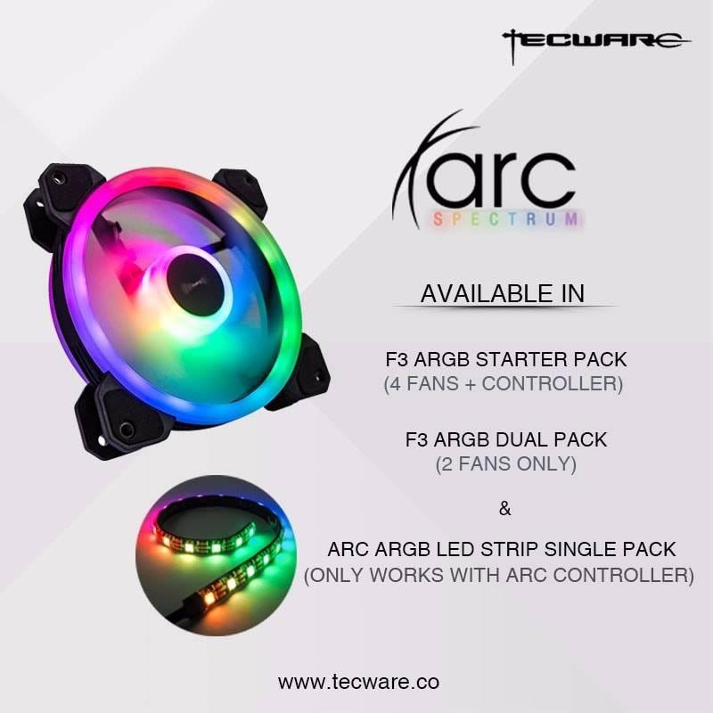 #Tecware ARC Spectrum F3 ARGB 4 Fan Controller Hub Remote Control + RGB  Stripe#