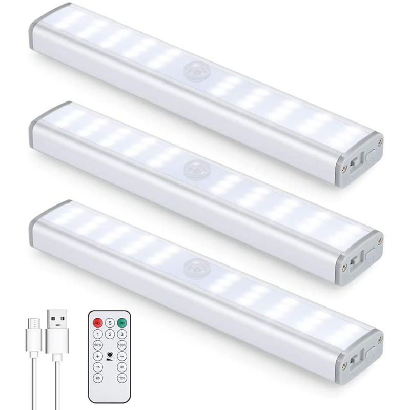EverToner 30LED Motion Sensor Closet Light Rechargeable, Wireless Under Cabinet Lighting with Remote,Stick-on Portable