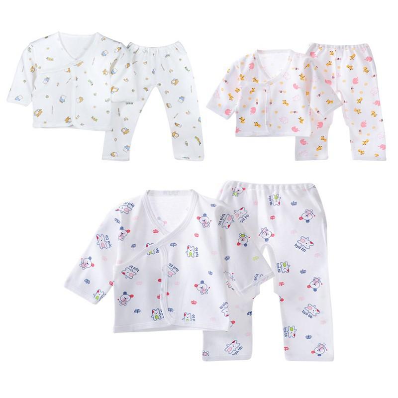 ชุดเด็กทารกแรกเกิดผ้าฝ้าย + กางเกงสำหรับเด็ก (เอวผูกด้านหลังตา