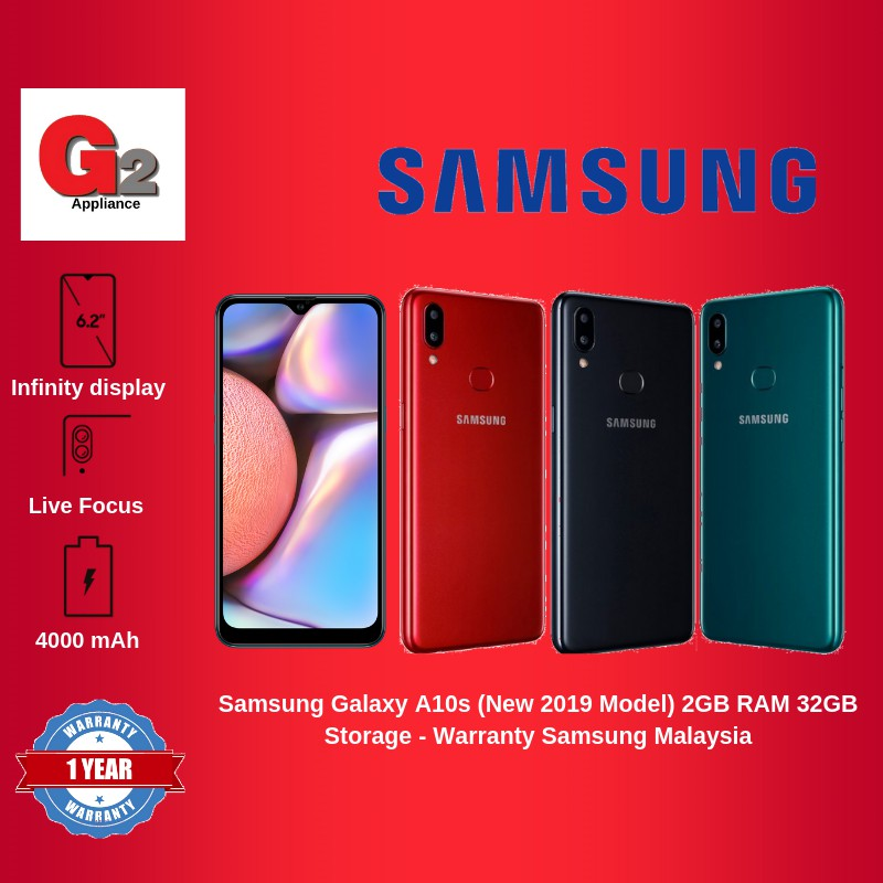 Samsung Galaxy A10s (New 2019 Model) 2GB RAM 32GB Storage - Warranty Samsung Malaysia