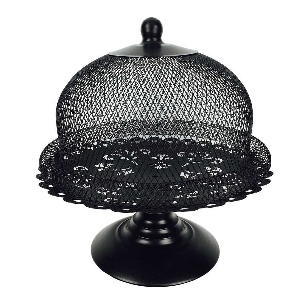 Black Cake Stand And Dome Lid Metal Cake Plate Display Holder For Tea Shop Hotel Shopee Malaysia