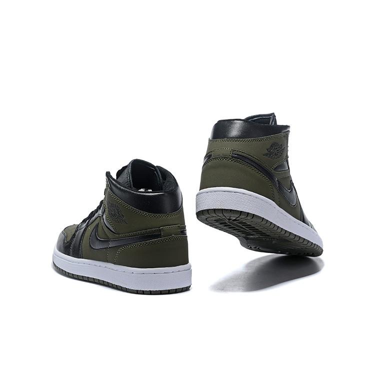 new style bc21e 61330 *Original*NIKE Air Jordan 1 OG Black Army Green Aj1 High Basketball Shoes  36-46