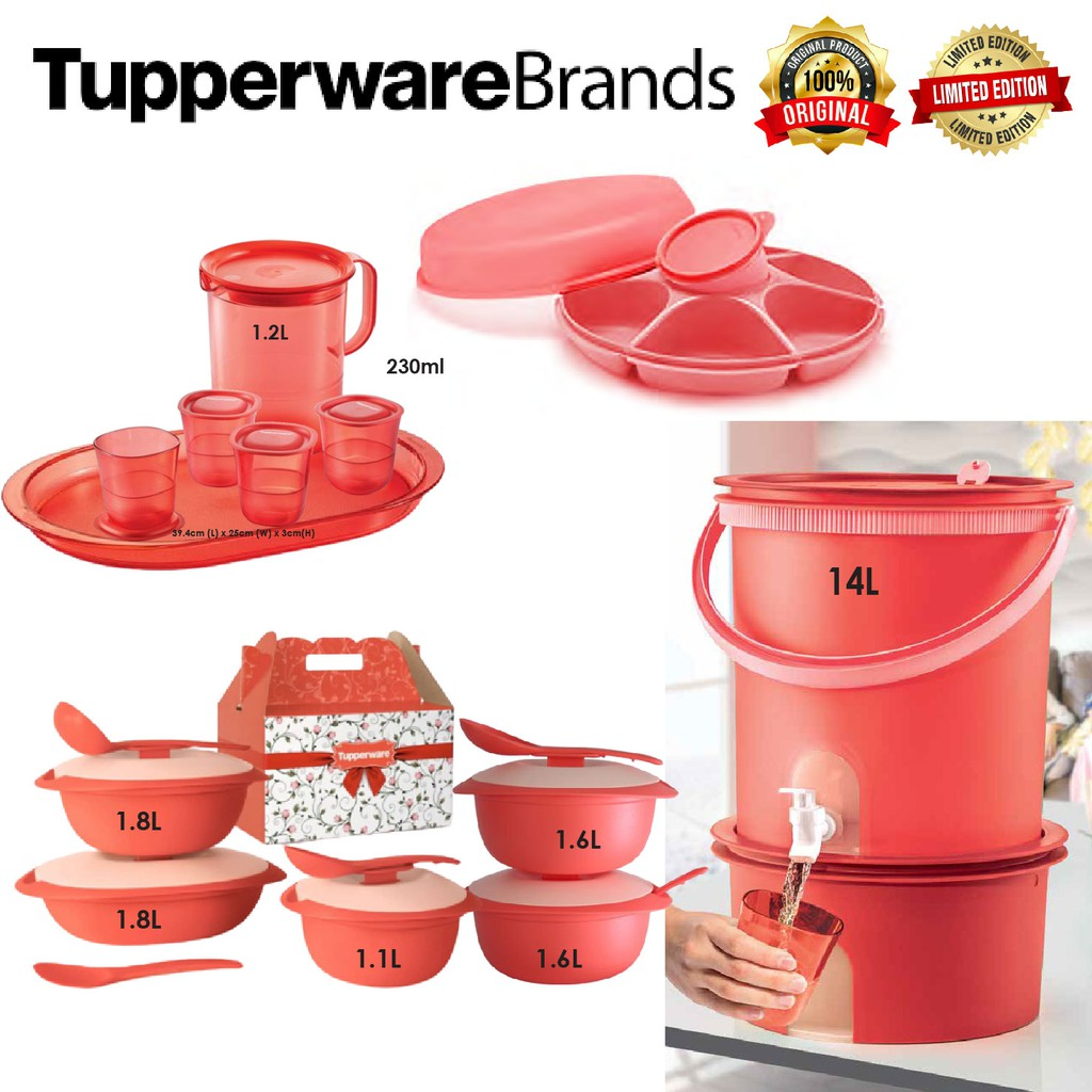💥READY STOCK💥 TUPPERWARE ORIGINAL CORAL BLOSSOM SERVEWARE LIMITED EDITION ! MICROWAVEABLE